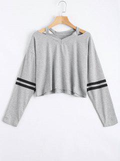 V Neck Drop Shoulder Striped Top - Gray M