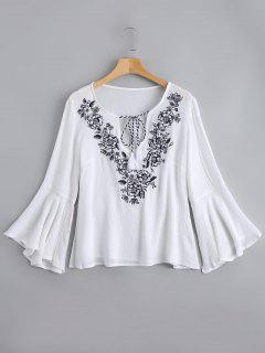 Flare Sleeve Embroidered Tassels Blouse - White L