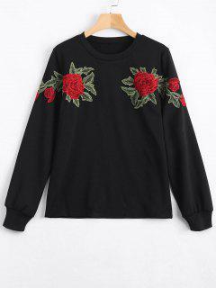 Floral Patched Sweatshirt - Black M