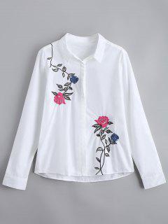 Chemise Brodée En Bonnet Boutonnée - Blanc L