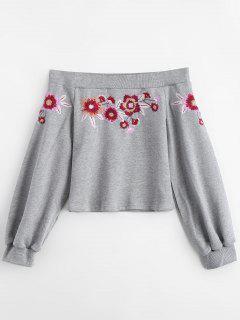 Floral Embroidered Off Shoulder Sweatshirt - Gray L
