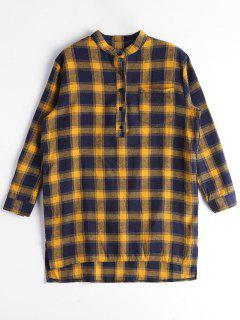 Button Up Slit Checked Pocket Dress - Purplish Blue