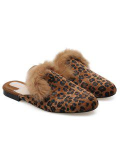 Runde Zehe Leopard Maultiere Schuhe - Braunleopard 39