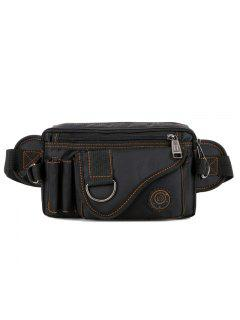 Cinturón De Metal De Costura Multi Zips Bolsa De Cintura - Negro