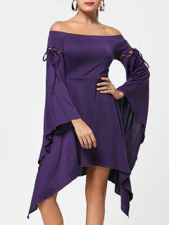 Flare Sleeve Off Shoulder Asymmetric Dress - Concord Xl