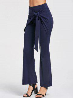 Tie Front High Waisted Boot Cut Pants - Cerulean L