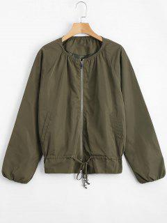 Zip Up Jacket With Invisible Pockets - Army Green M