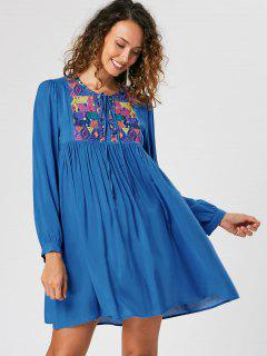 Embroidery Babydoll Dress - Blue 2xl