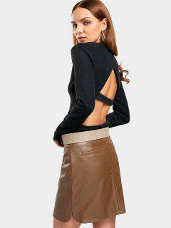 Cut Out Top And Belted Skirt Set - Black And Brown M