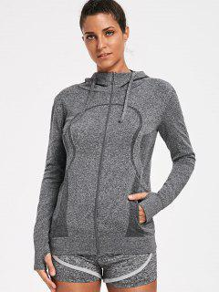Sporty Perspire Heathered Zip Up Hoodie - Gray L