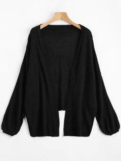 Open Front Plain Drop Shoulder Cardigan - Black L