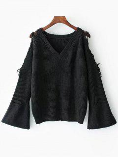 Flare Sleeve Lace Up V Neck Sweater - Black