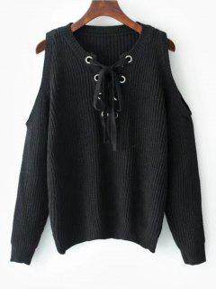 Lace Up Cold Shoulder Sweater - Black