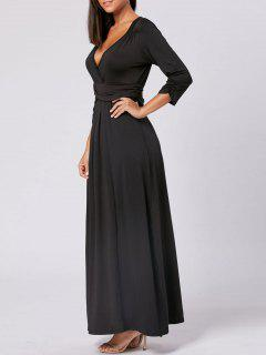 V Neck Empire Waist Maxi Party Dress - Black L