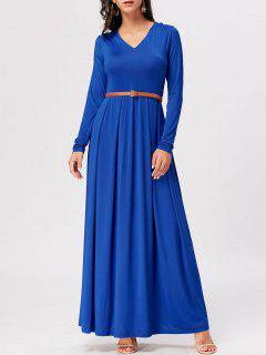 Long Sleeve High Waist Maxi A Line Dress - Royal 2xl