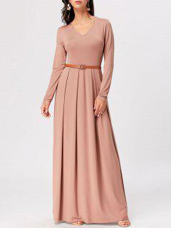 Long Sleeve High Waist Maxi A Line Dress - Apricot M
