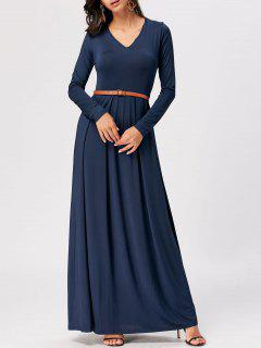 Long Sleeve High Waist Maxi A Line Dress - Cerulean M