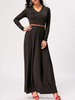 Long Sleeve High Waist Maxi A Line Dress - Black M
