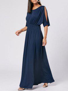 Slit Sleeve High Waist Maxi Party Dress - Cerulean M