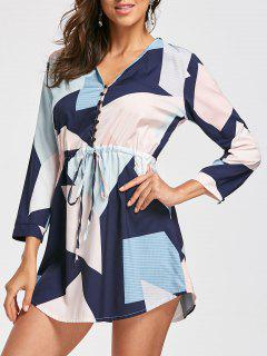 Drawstring Graphic Long Sleeve Dress - S
