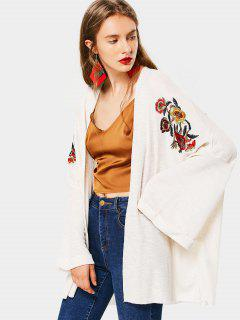 Open Front Flower Embroidery Cardigan - Beige