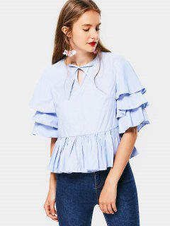 Tiered Sleeve Bow Tie Blouse - Light Blue S