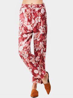 Pantalon Imprimé Floral à Taille Haute - Floral M