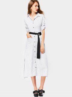 Button Up Slit Striped Belted Dress - Stripe M