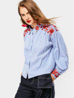 Floral Patched Striped Drop Shoulder Shirt - Blue L
