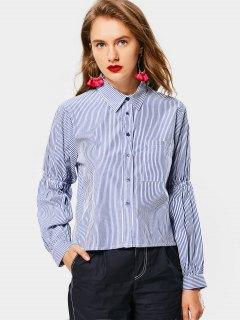 Button Up Striped High Low Pocket Shirt - Blue L