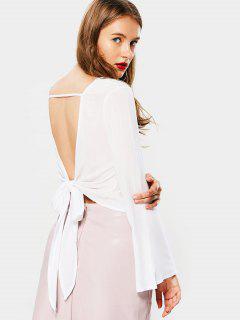Self Tie Bowknot V Shaped Back Blouse - White S