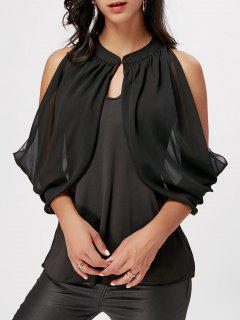 Cold Shoulder Chiffon Insert Ruffle Blouse - Black Xl