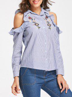 Chemise à Rayures à épaulettes épaulettes à Froid - Bleu L
