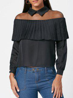 Mesh Pleated Panel Collared Top - Black S