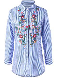 Striped Tunic Floral Embroidered Shirt - Blue Stripe M