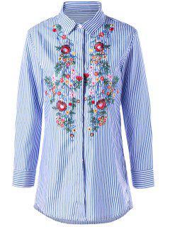 Chemise Brodée à La Florale à Rayures - Bande Bleu Xl