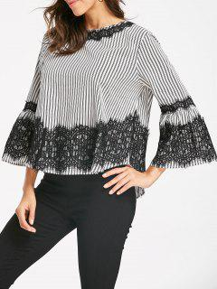 Striped Lace Panel Bell Sleeve Blouse - L