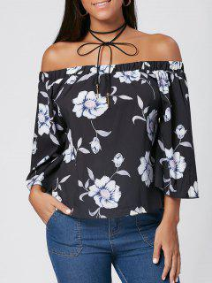 Bell Sleeve Floral Print Off The Shoulder Blouse - Black Xl