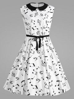Plus Size Musical Notes Gedruckt Collared Retro Kleid - Weiß 4xl