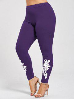 Plus Size Appliqued Jersey Leggings - Purple Xl