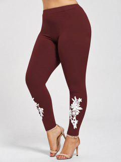 Plus Size Appliqued Heather Leggings - Wine Red 5xl