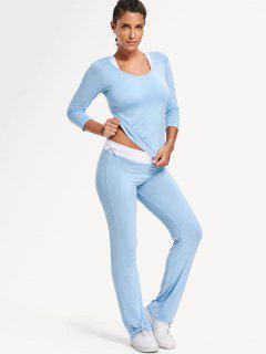 Sporty Bra With T-shirt With Pants Yoga Suit - Light Blue Xl