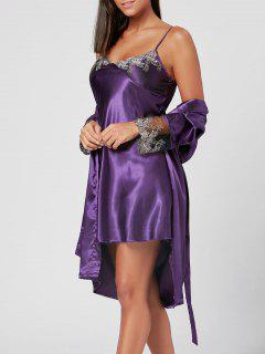 Satin Slip Dress With Wrap Robe - Purple Xl