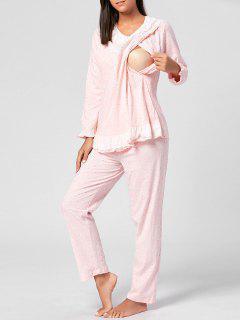 Pijama De Enfermera De Manga Larga Impreso Conjunto - Rosa Luz L