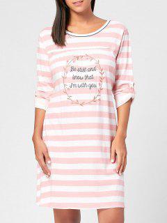 Striped Cotton Nursing Night Dress - Light Pink L