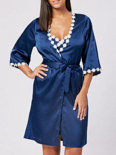Longline Sleepwear Kimono With Slip Dress - Royal S
