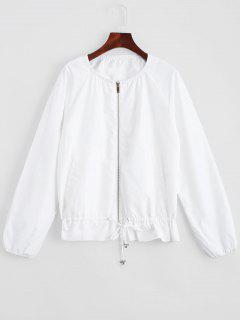 Zip Up Jacket With Invisible Pockets - White L