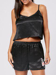 Slip Top With Shorts Sleepwear Set - Black Xl