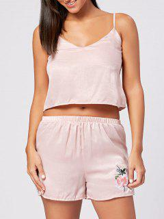 Slip Top With Shorts Sleepwear Set - Light Pink S
