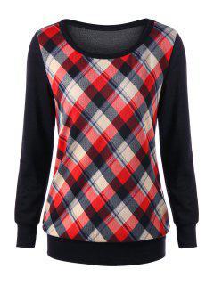 Elbow Patch Plaid Sweatshirt - Rojo L